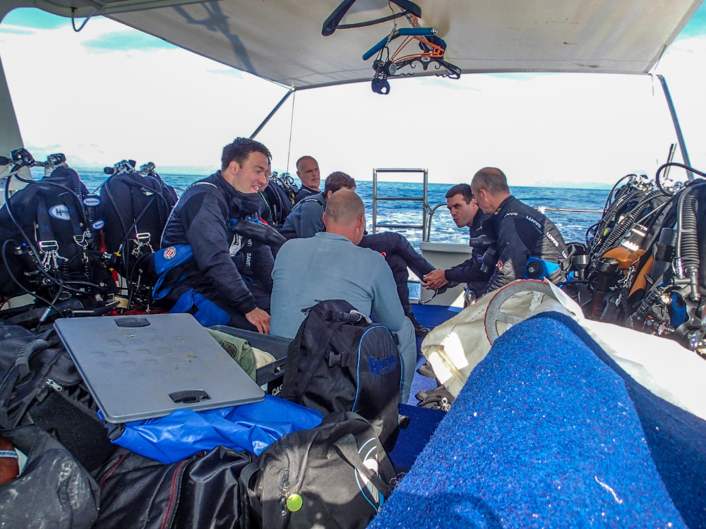 On the boate to our technical diving