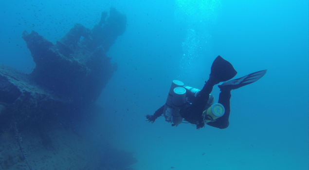 Technical diving at HMS Stubborn